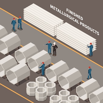 Metal industry isometric composition with workers and metallurgical products 3d vector illustration