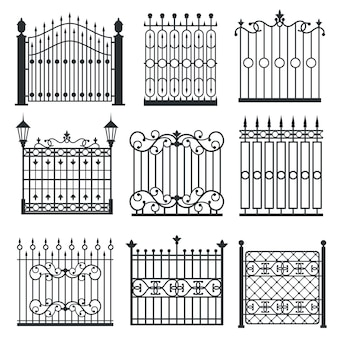 Metal iron gates, grilles, fences vector set