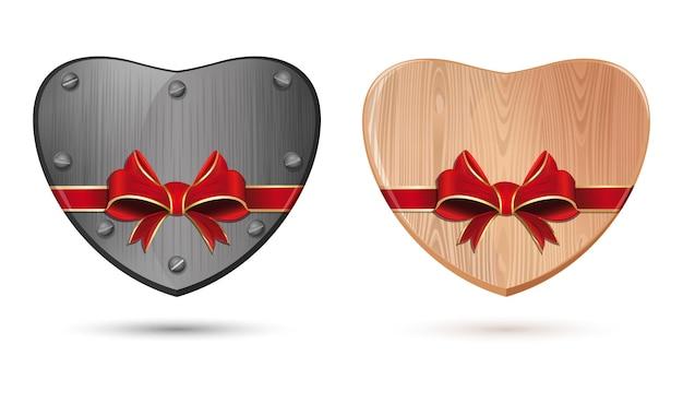 金属、鉄のハート、木製のハート。バレンタインデーのリボンで結ばれたハート。白い背景で隔離の心のアイコンを設定します。図