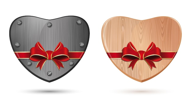 Metal, iron heart and wooden heart. heart tied with ribbon for valentines day. set icons of hearts isolated on white background.  illustration
