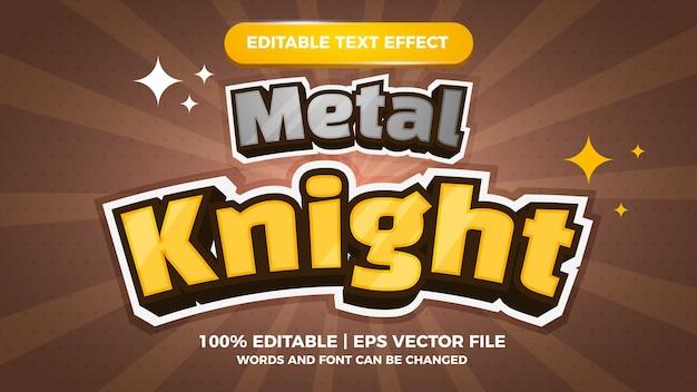 금속 기사 편집 가능한 텍스트 효과 만화 게임 제목