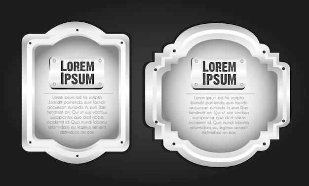 Metal labels isolated on black
