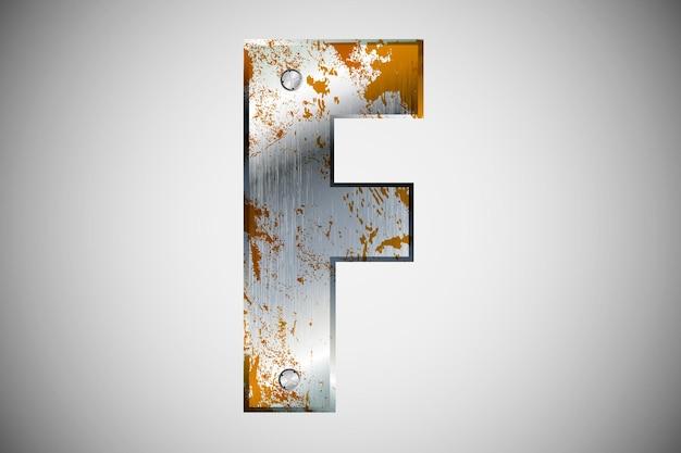 アルファベットの金属文字。図