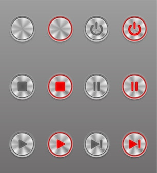 Metal media button set on and off position at gray