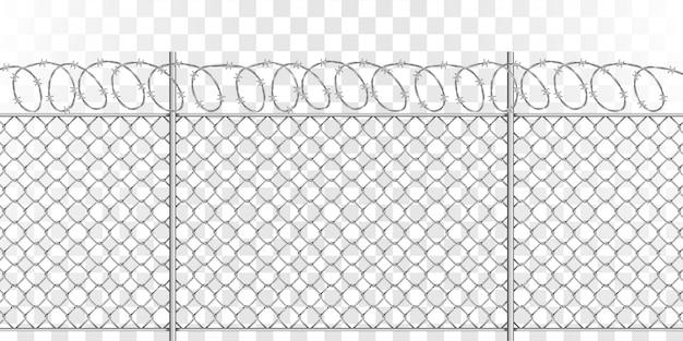 Metal mesh fence with steel spiral barbed wire