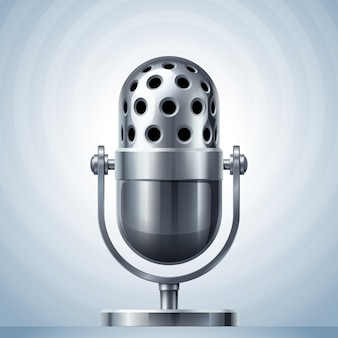 Металлический микрофон. используется прозрачность. rgb. глобальные цвета. используемые градиенты