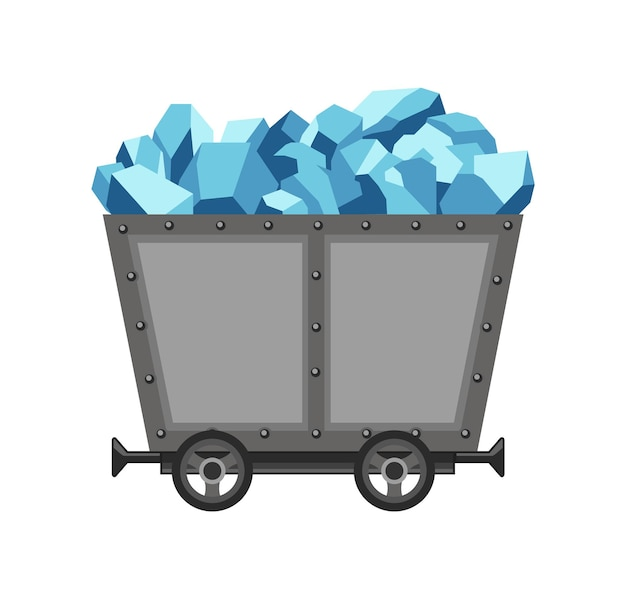 Metal mine cart loaded with crystals. cartoon mine trolley. vector design illustration isolated on white background.