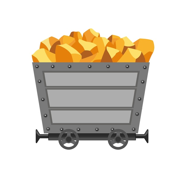 Metal mine cart loaded with gold. cartoon mine trolley. vector design illustration isolated on white background.