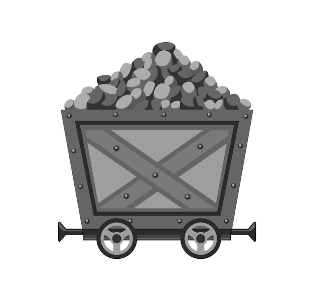 Metal mine cart loaded with stones or coal. cartoon mine trolley. vector design illustration isolated on white background.