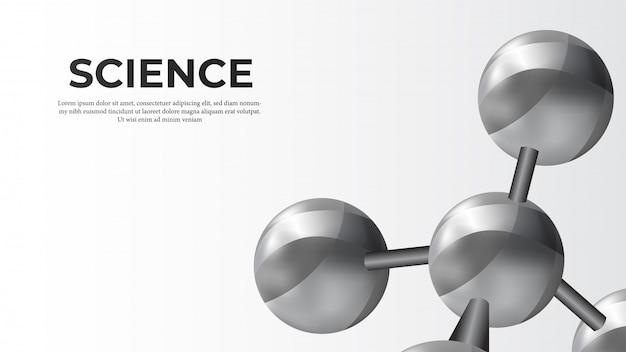Metal molecule 3d sphere science banner