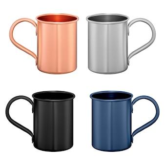 金属製マグカップ。銅製トラベルカップ。コーヒーまたはティーポットのテンプレート。