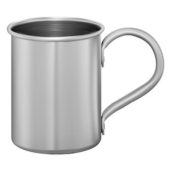 Metal mug. stainless steel cup. aluminum tin flask