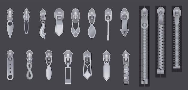 金属またはプラスチックの留め具、ジッパー。ファスナーとジッパーは分離されています。暗い背景にシルバーメタリッククローズドジッパーのセット。