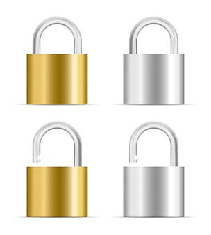 Metal padlock closed open icon isolated on white