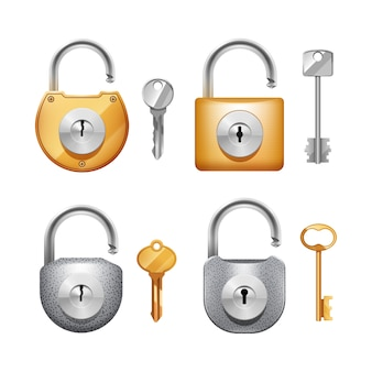 Metal padlocks and keys in different shapes realistic set