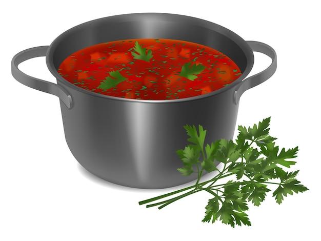 白い背景の上の赤いスープとパセリと金属鍋。リアルなスタイル。ベクトルイラスト。