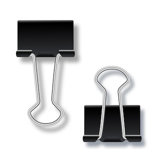 Metal paper clip or binder office stationary tool on isolated backgroundtwo paper clips  open and cl...