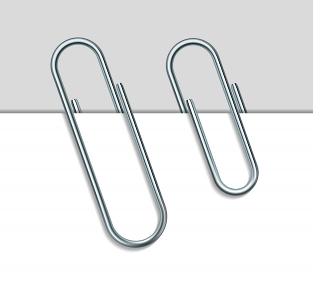 Metal paper clip and paper  on white background.  illustration
