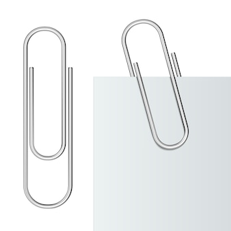 Metal paper clips and paper isolated