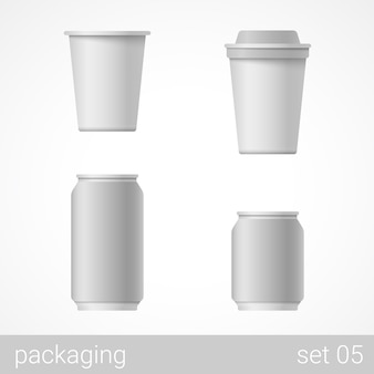 Metal and paper package set illustration