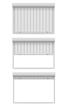Metal perforated rolling shutters.