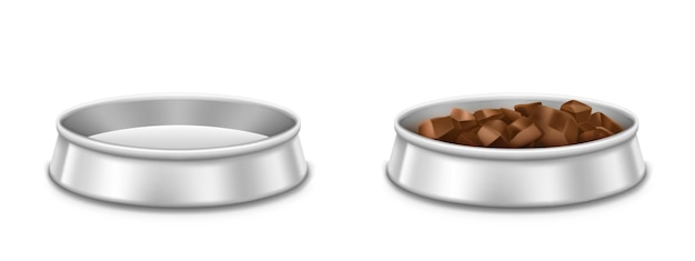 Metal pet bowls, empty and full of food plate for dog or cat. vector realistic mockup of chrome dish with pile of meat, dry or wet feed for domestic animals isolated on white background