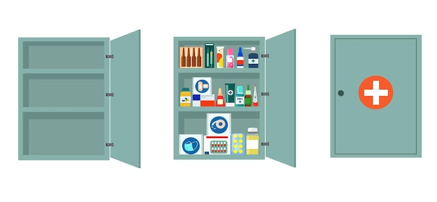 A metal pharmacy cabinet with shelves full of medicines. locked and open medical locker.