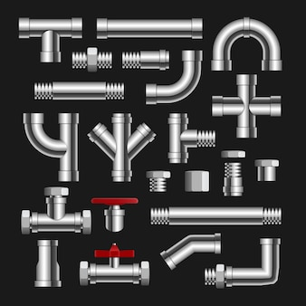 금속 파이프 물 연결 절연 파이프라인. 물 튜브 공장 철강 건설 배관.
