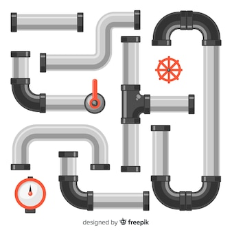 Metal pipes set in flat design