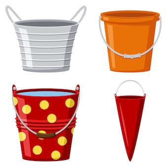 Metal and plastic buckets