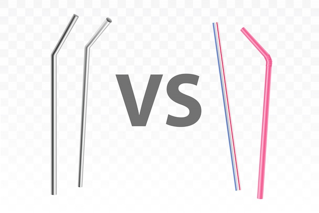 Metal and plastic drinking straws realistic vector