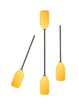 Metal plastic oars icon illustration