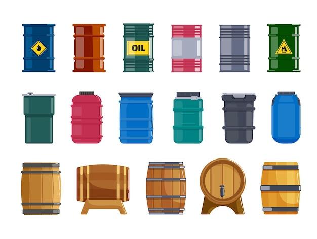 Емкость бочки металлическая, пластиковая, деревянная для набора жидкости. различные бочки для безопасного хранения, доставки опасного топлива, легковоспламеняющегося бензина, масла, вина, пива, векторные иллюстрации, изолированные на белом