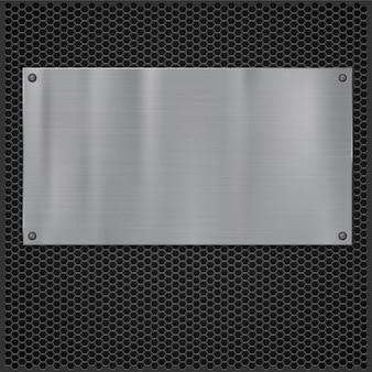 화격자 질감 위에 금속판, 디자인을 위한 벡터 일러스트레이션.