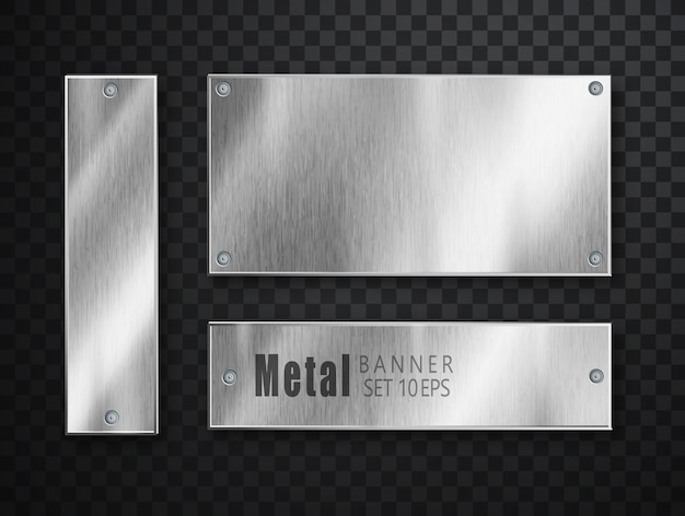 Metal plates set realistic. vector metal brushed plates. realistic 3d design. stainless steel