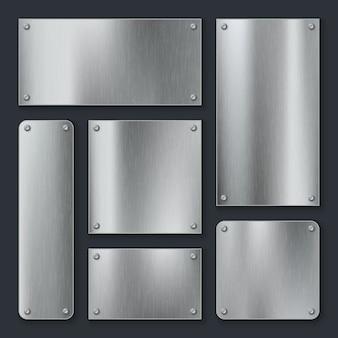 금속판. 강철 플레이트, 나사가있는 스테인리스 패널 크롬 태그. 산업 기술 금속 빈 현실적인 템플릿 세트