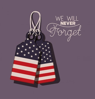 Metal plates with usa flag of memorial day