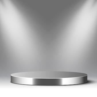 Металлический подиум и прожекторы. круглый глянцевый постамент. место действия. иллюстрации.