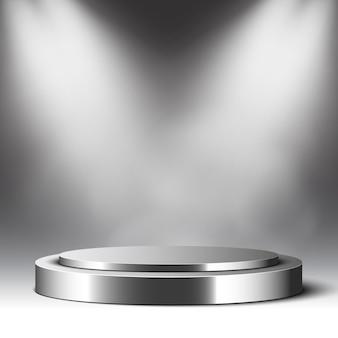 Металлический подиум и прожекторы. круглый постамент. сцена для исполнения. иллюстрации.