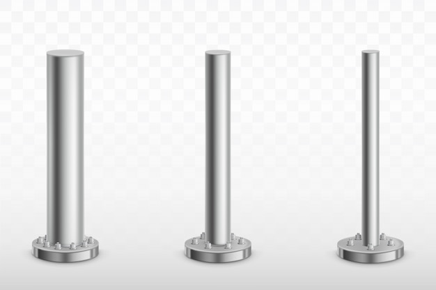 Metal pole pillars, steel pipes cylinder footings