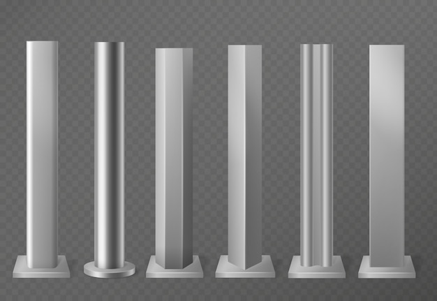 Metal poles. metalic pillars for urban advertising sign and billboard. polish steel columns in different section shapes   set