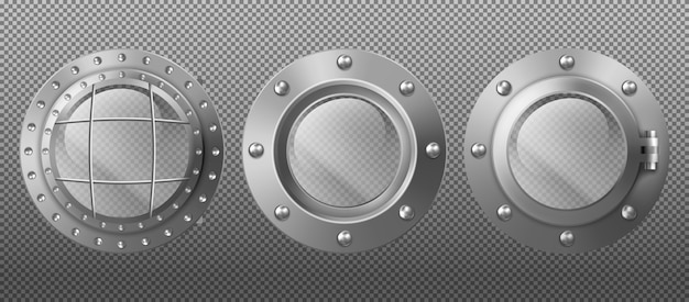 Metal portholes in ship, submarine and spaceship