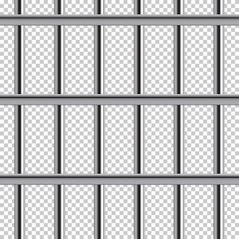 透明な背景に金属刑務所バーシームレスパターン。