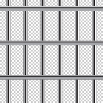 Metal prison bar seamless pattern on transparent background.
