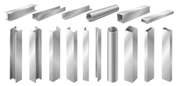 Металлический профиль и трубы, изолированные на белом фоне. различные 3d стальные балки и трубы. строительные материалы для строительства. реалистичные 3d векторные иллюстрации