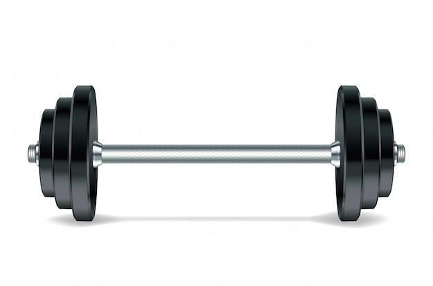 Metal realistic barbell isolated