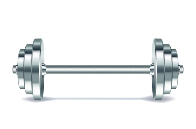 Metal realistic barbell  on white background.  .