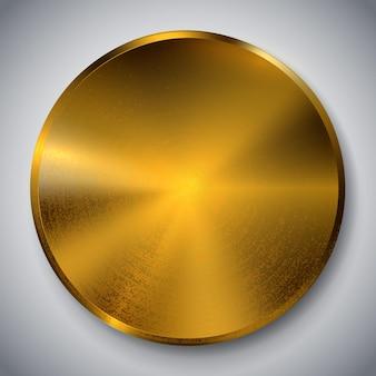 金属のリアルなボタン金属の質感技術オブジェクトゴールドブロンズコインアイコンメダル表面