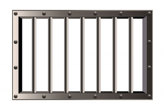 Metal realistic detailed prison bars window.