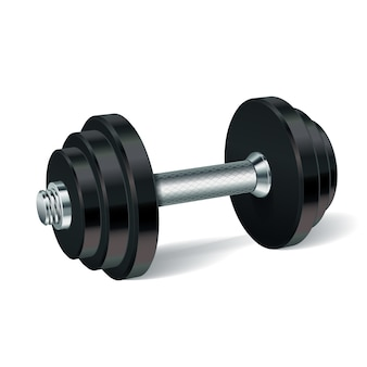 Metal realistic dumbbell isolated illustration